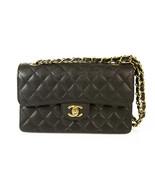 CHANEL Black Caviar Leather 255 Classic Double Flap Small Bag Silvertone... - $3,950.10