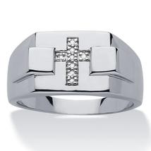 Jesus Cross Men's Engagement Band 14k White Gold Finish 925 Silver Round Cut CZ - $88.99