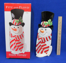 Fitz & Floyd Plate Christmas Snack Therapy Snowman Server Tray Platter NIB - $27.71