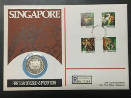 1973 Singapore $5 Dollar Silver Proof & FDC Cover Set Lot#B523 Hutt 99 #... - $140.25