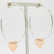 18K WHITE ROSE GOLD PENDANT CIRCLE HOOPS EARRINGS WITH FLAT HEART, MADE IN ITALY image 1