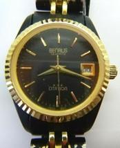 Benrus Citation Quartz-Womens Wrist Watch, Gold Tone & Black Band, Calendar  - $24.74