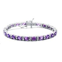 Sterling Silver Amethyst Purple Cubic Zirconia Tennis Bracelet - $129.99