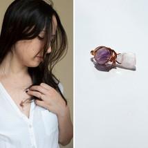 Kunzite Amethyst Necklace, Reiki Infused, Heart Third Eye Chakra, Pink C... - $44.44