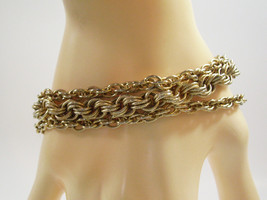 GOLDETTE Gold Plated CHAINS Bracelet Frosty Rope Vintage Estate Career - $17.81