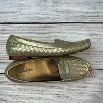 Cole Haan metallic Gold NikeAir basket weave Loafers Shoes 8 AAAA Narrow... - $19.99