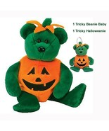Tricky Green Bear Pumpkin Costume Ty Beanie Baby and Halloweenie Beanie Set MWMT - $14.80