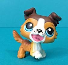 Littlest Pet Shop Collie Barking Puppy Dog Brown White Open Mouth Blue E... - $5.95