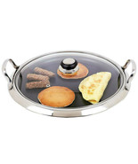 """14"""" Diameter 12-Element Stainless Steel Non-Stick Round Griddle Glass Lid Cover - $62.89"""