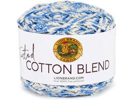 Lion Brand Twisted Cotton Blend Yarn in Blue/Ecru #48207