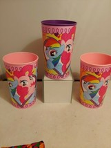 My Little Pony 16oz Plastic Favor Cup 2 pink 1 purple made in usa unique inc - $15.88