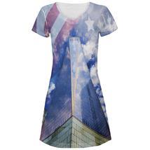USA Freedom Tower New York City All Over Juniors V-Neck Dress - $31.95