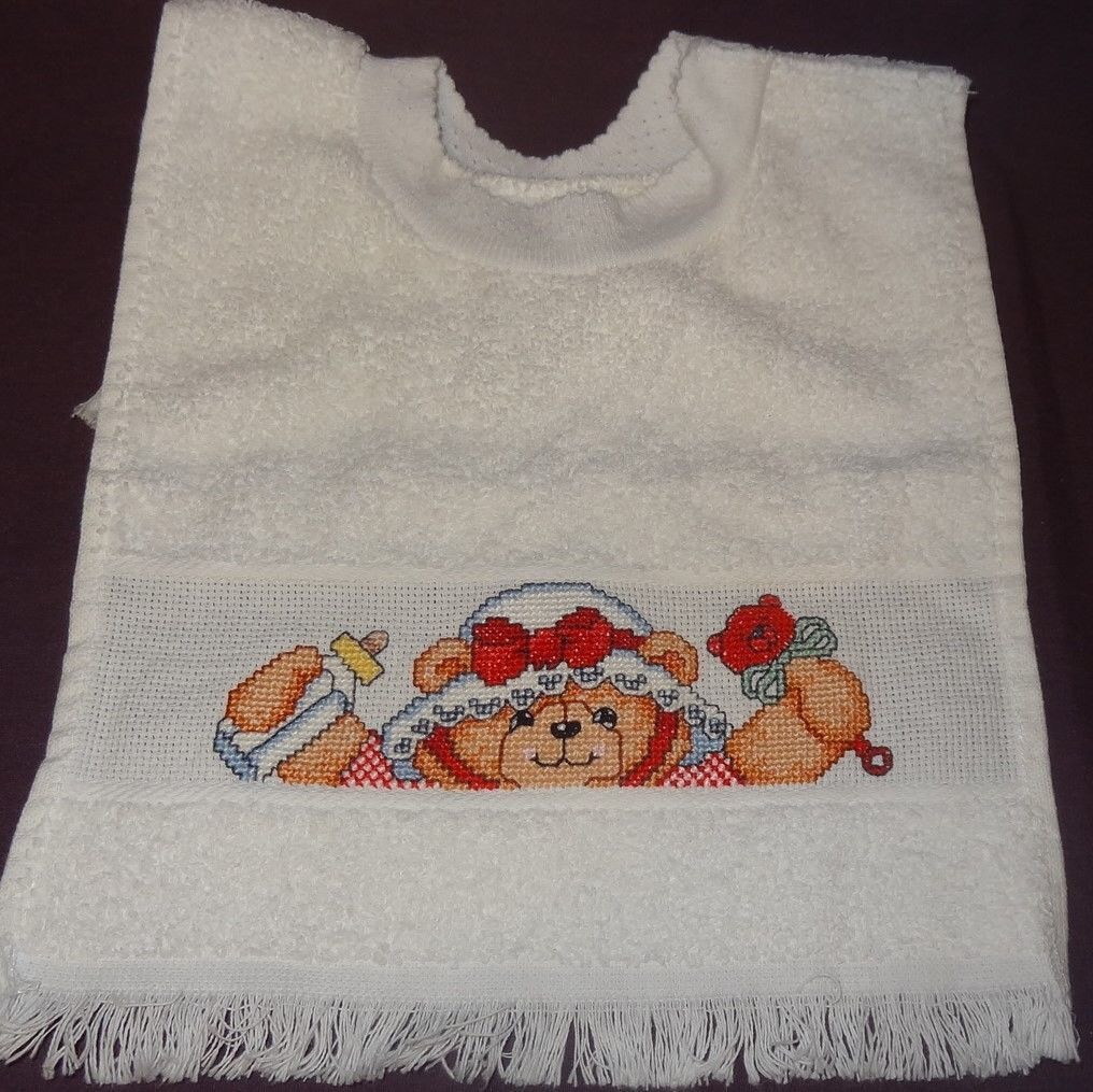 New Baby Bib Teddy Bear Girl Rattle Bottle Handmade Finished Cross Stitch