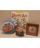 NOAH'S ARK BOOK TIN PICTURE RESIN FIGURINE Religious Lot of 4 - $15.04