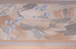 Wallpaper Border Abstract Lines Modern Tan Blue Silver Gray Beige Wall EH10047 - $14.83