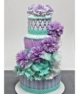 Lilac Purple and Mint Under The Sea Baby Girl Shower 4 Tier Mermaid Diap... - $65.00