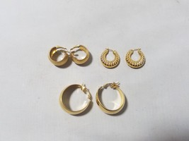 Signed Vintage Earrings Lot of 3 Pairs Gold Tone Avon Trifari Elizabeth Taylor - $46.49