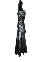80s Etienne Brunel Paris Silver Metallic Lame Strapless Ruched Swing Party Dress image 6