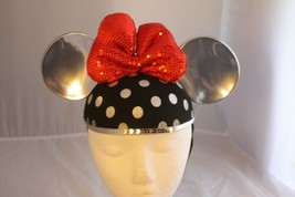 Disney Theme Parks Minnie Sequin Bow Hat Mickey Mouse Ears Embroidered Name - $15.79