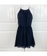 Lush Women's Black Blouson Mini Skater Dress Keyhole Back Size Small S - $22.76