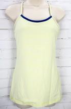 Lululemon Power Y Yoga Tank Top Luon Women's 8 Neon Yellow Green Stripes - $39.11