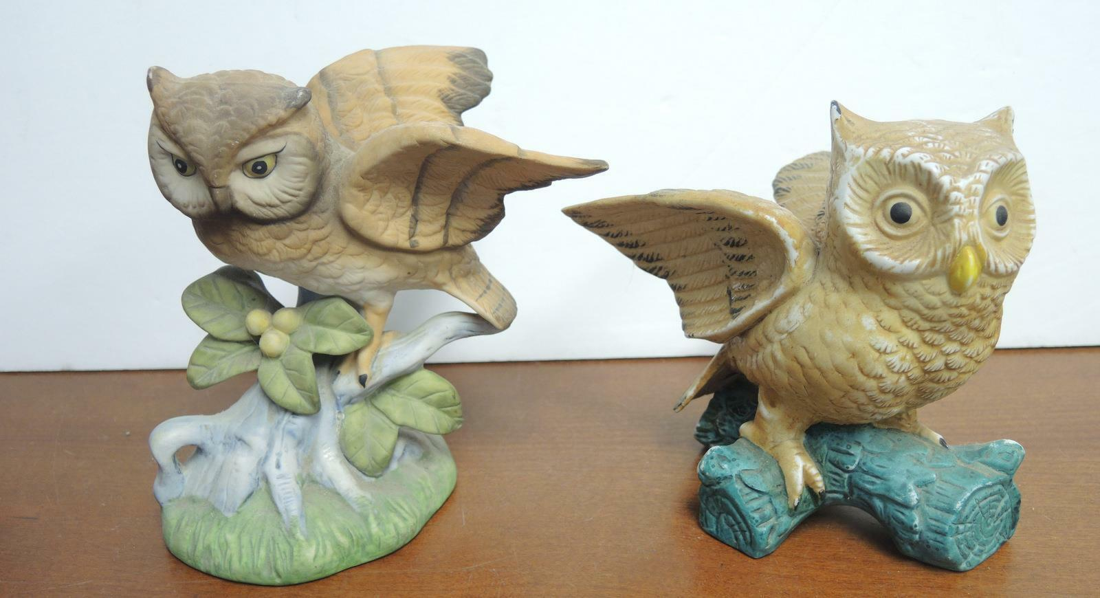 Two Vintage Brown Horned Owls Perched On Leaves & Berries Limb Figurines