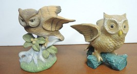 Two Vintage Brown Horned Owls Perched On Leaves & Berries Limb Figurines image 1