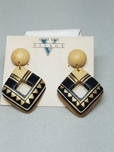 Black Beige Gold Tone Dangle Pierced Earrings New Old Stock Vintage - $17.99