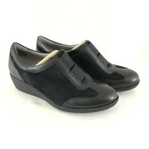 Clarks Artisan Petula Viola Wedge Sneakers Suede Slip On Black Size 6 - $38.69
