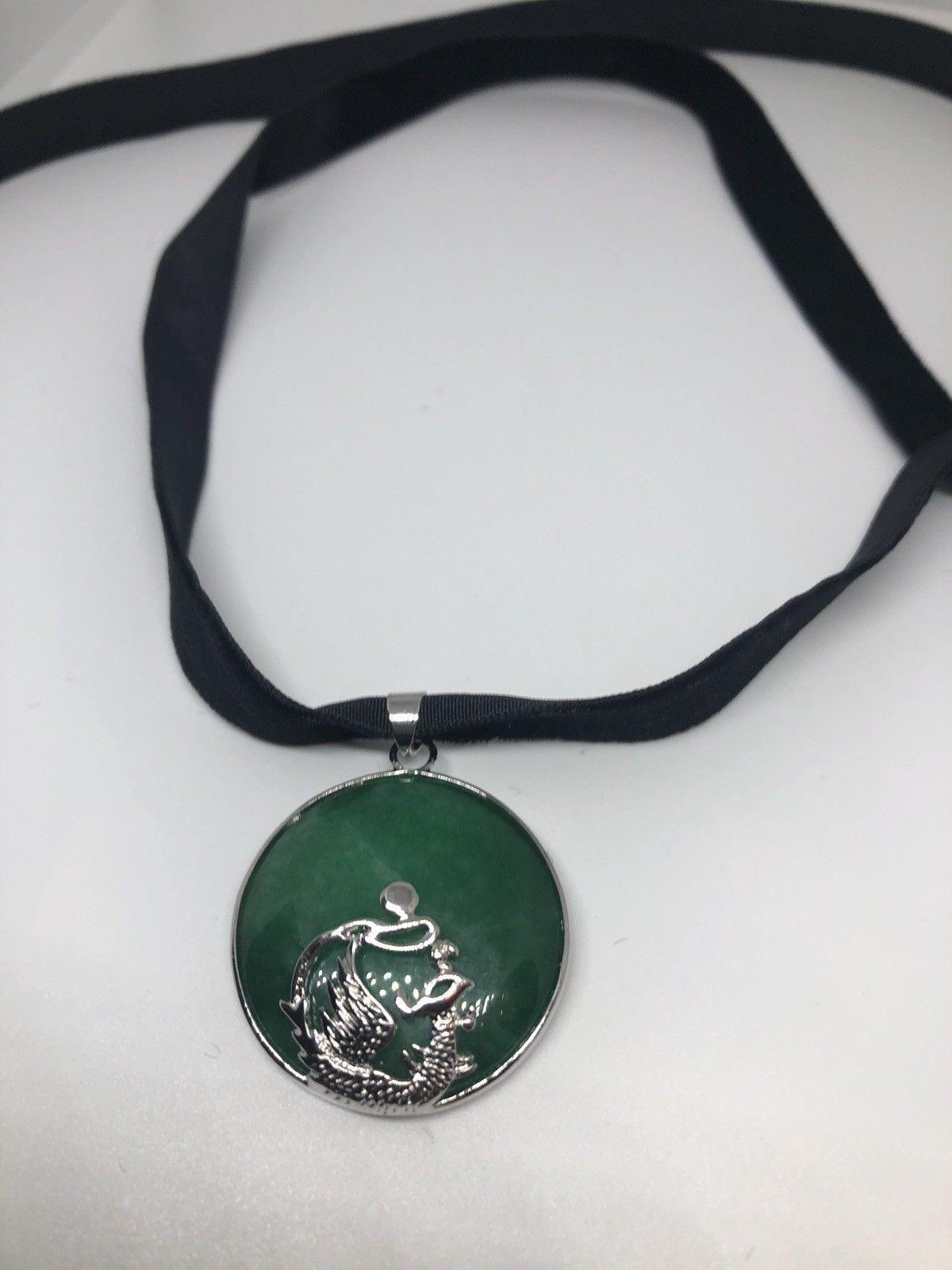 Vintage Jade White Bronze Silver Pendant Necklace Choker Pendant