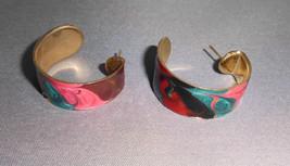 VTG Gold Tone Metallic Multicolored Enameled Earrings - $7.92