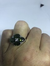 Vintage Genuine Chrome Diopside 925 Sterling Silver Deco Size 8 Ring - $133.65