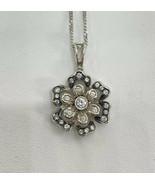 18k Gold Necklace With Diamonds Flower Diamond Jewellery White Gold - $1,033.83