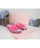 Sophia Webster Neon Pink Metallic Leopard Ramona Knotted Slides Sz 38 NIB - $192.56