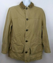 J.Crew Field Canvas Jacket Beige Tan Flannel Lined Mens Size S  - $79.19