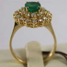 18K YELLOW GOLD 750 RING WITH DIAMONDS AND GREEN EMERALD, FLOWER MADE IN ITALY image 3