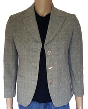 Emporio Armani Womens Blazer Jacket Sz 6 M 42IT Italy Gray Check Career Vtg 80s - $91.66