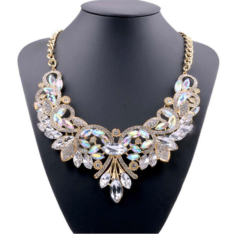 Ashion necklaces pendants multi color crystal bib statement necklace water drop crystal necklace
