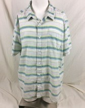 Columbia Mens Shirt XXL White Gray Green Stripe Short Sleeve Casual Button Down - $12.86