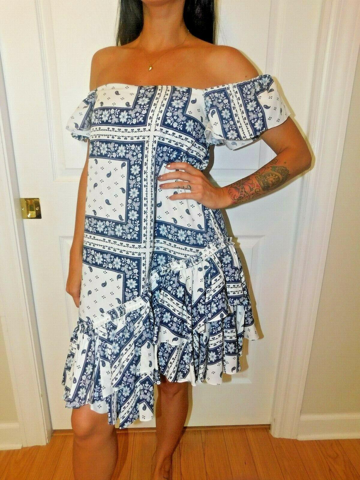 Cinq à Sept - Minella Off-The-Shoulder Scarf-Print Dress - Size 2 NWT
