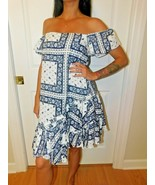 Cinq à Sept - Minella Off-The-Shoulder Scarf-Print Dress - Size 2 NWT - $98.99