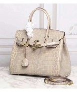25cm Crocodile Embossed Italian Leather Lock and Key Celebrity Satchel H... - $149.91