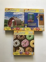Lot Of 3 Puzzlebug Puzzles 300 Pieces Barn Bench Donuts Jigsaw  - $25.63
