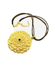 Huge Joan Rivers Gold Tone Medallion Pendant Necklace on Leather Cords  - $23.76