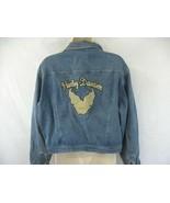 Harley Davidson Motorcycles Denim Jean Jacket Womens Large Eagle Biker - $29.69