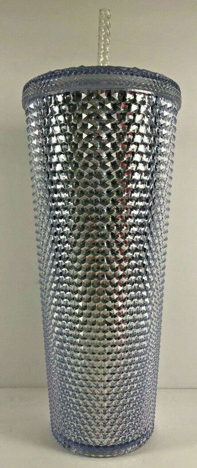 NEW Starbucks Holiday 2019 Venti 24 oz Platinum Silver Studded Cold Cup Tumbler image 2