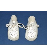 Vintage Crib Shoes for Doll or Baby-White With Laces-Free Ship - $7.99