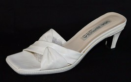 Via Spiga Made In Italy women's white leather sandals slide size 7.5M - $38.99