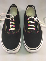 Black Vans w/ Neon Pink and Yellow Stitching / Eyelets - Youth 3.5 - $28.01