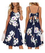 OUGES Womens Summer Backless Adjustable Spaghetti Strap Tie Back Floral ... - $25.09